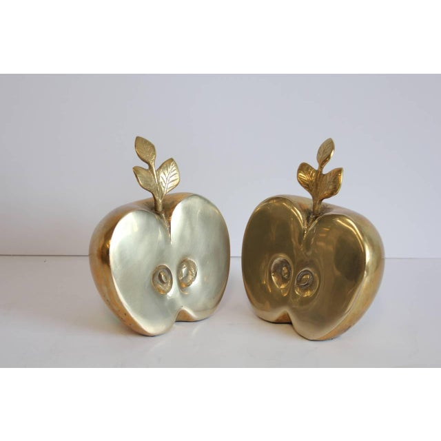 Mid-Century Modern Mid-Century Brass Apple Bookends - A Pair For Sale - Image 3 of 4