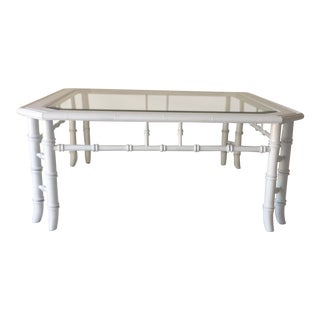 1980s Hollywood Recency Altavista Lane White Faux Bamboo Coffee Table