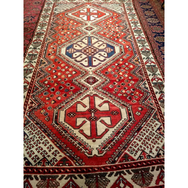 1960s Vintage Persian Shiraz Tribal Carpet - 5′ × 9′8″ For Sale - Image 9 of 10