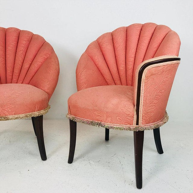 Pair of 40's Deco Opposing Channel Back Chairs For Sale - Image 4 of 10