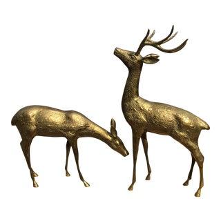 Hollywood Regency Large Pair Brass Deer Sculptures - Set of 2 For Sale