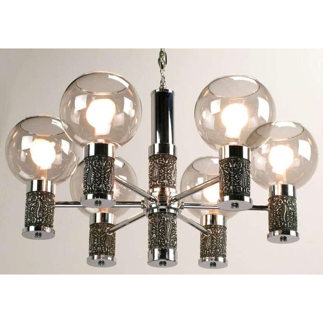 1960s Chrome & Smoked Glass Chandelier With Foliate Relief Detail For Sale - Image 5 of 7