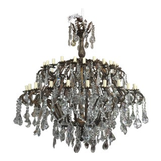 48-Light Bronze Colored Crystal Chandelier For Sale
