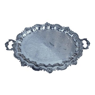 Federal Silver Co Georgian Style Silver on Copper Large Engraved Oval 2 Handled Tray For Sale