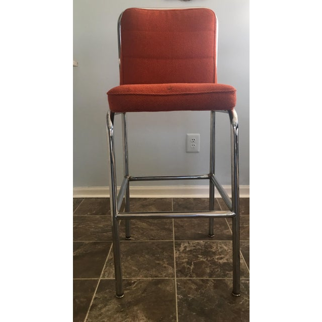 Mid-Century Modern Mid-Century Orange Upholstered Chrome Tube Bar Stools - A Pair For Sale - Image 3 of 10
