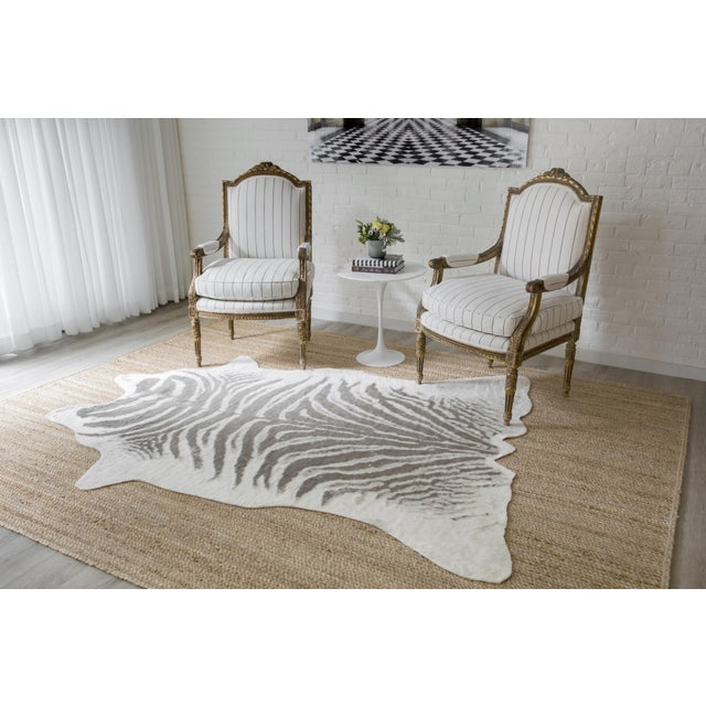 """2010s Erin Gates by Momeni Acadia Zebra Grey Faux Hide Area Rug - 5'3"""" X 7'10"""" For Sale - Image 5 of 7"""
