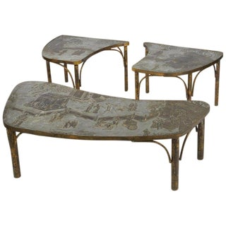 Philip & Kelvin LaVerne Tao Coffee Table and End Table Set For Sale