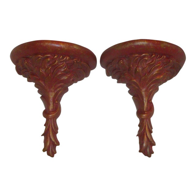 Extra Tall Red & Gold Plaster Wall Corbel Brackets - Image 1 of 9