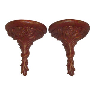 Extra Tall Wall Corbels Red and Gold Plaster Brackets For Sale