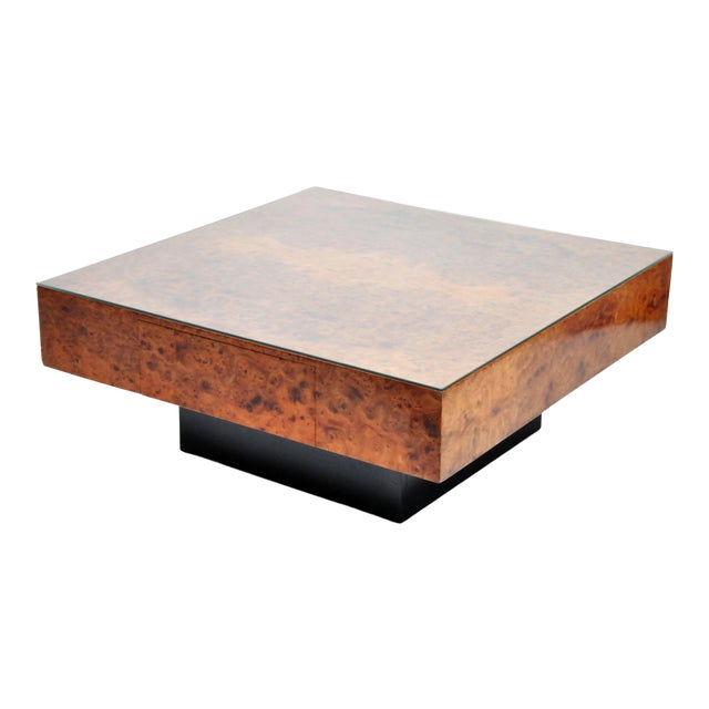 French Burl Wood Table With Two Drawers For Sale