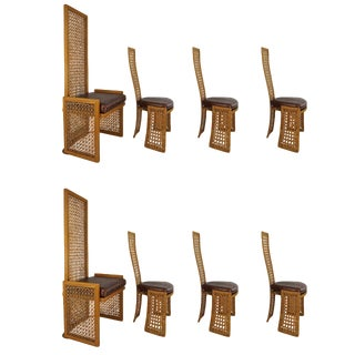 Italian Rattan Dining Chairs With French Caning by Vivai Del Sud - Set of 8 For Sale