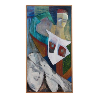 Figural Abstract Painting in Artist Frame For Sale