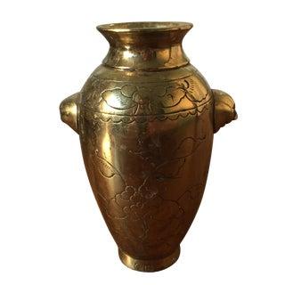 Brass Vase with Engraved Floral Design