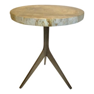 Caracole Modern Sis-Boom-Bah Taupe Petrified Wood End Table For Sale