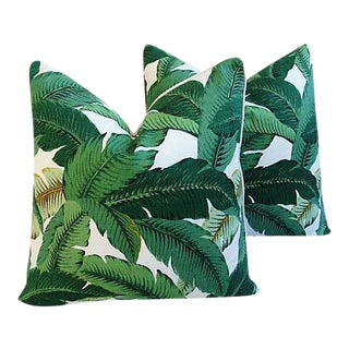 "Hollywood Glam Banana Leaf Feather/Down Pillows 24"" Square- Pair"