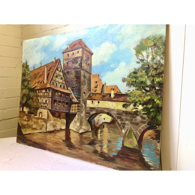 Impressionist Oil Painting of a Continental Townscape For Sale - Image 9 of 12