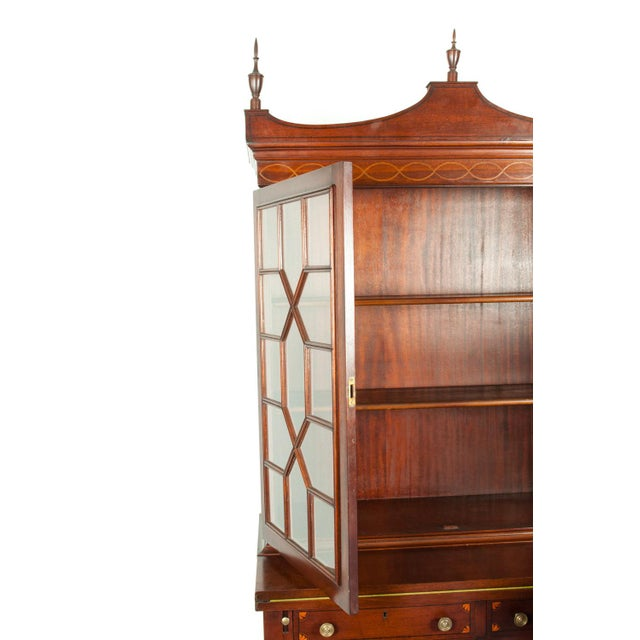 Charak Hand-Carved Mahogany Wood Two Piece Display Cabinet For Sale - Image 12 of 13