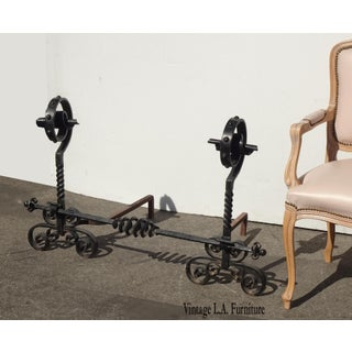 Vintage Black Wrought Iron Spanish Style Andirons W Decorative Cross Bar Preview