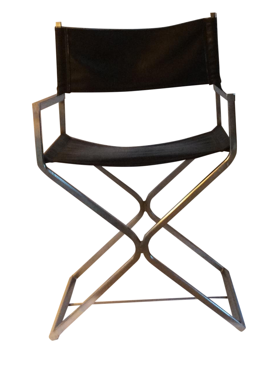 Vintage Leather And Chrome Directors Chair
