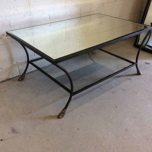 French Rectangular Mirror Top Iron Coffee Table with Brass Hoof Feet For Sale - Image 3 of 9
