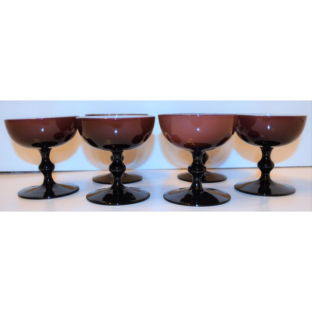 Carlo Moretti 1960's Vintage Mid-Century Modern Carlo Moretti Cased Amethyst Champagne Coupes - Set of 6 For Sale - Image 4 of 10