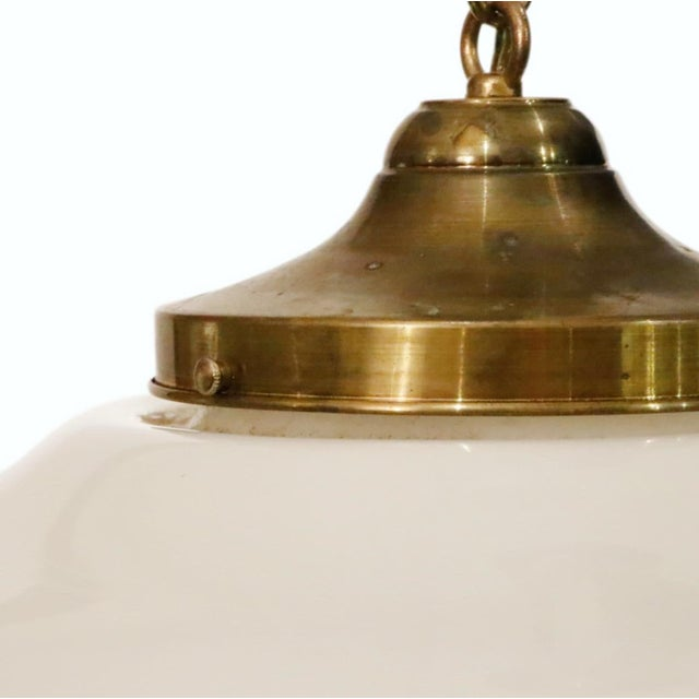 Art Deco Art Deco Glass With Brass Cap Pendant For Sale - Image 3 of 6