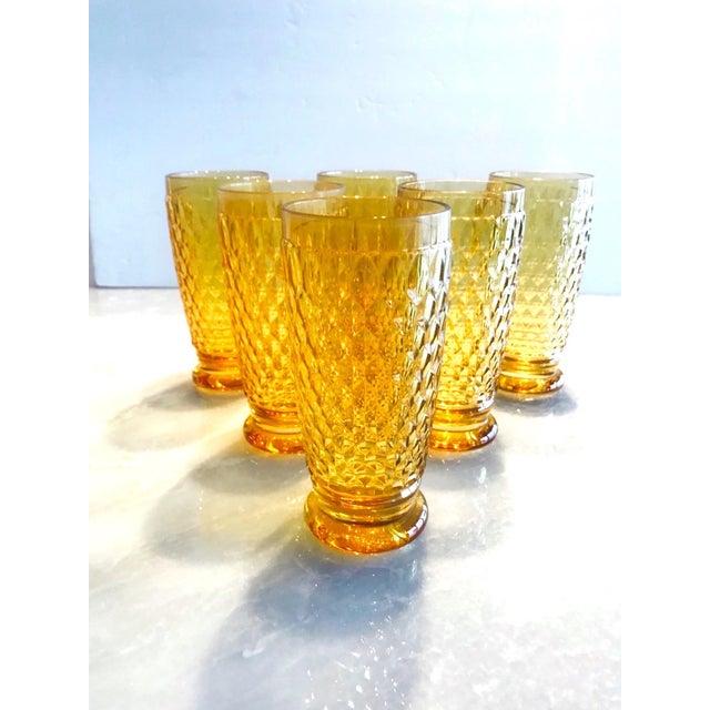 Orange Set of Seven Vintage Villeroy & Boch Crystal Highball Glasses in Amber For Sale - Image 8 of 13