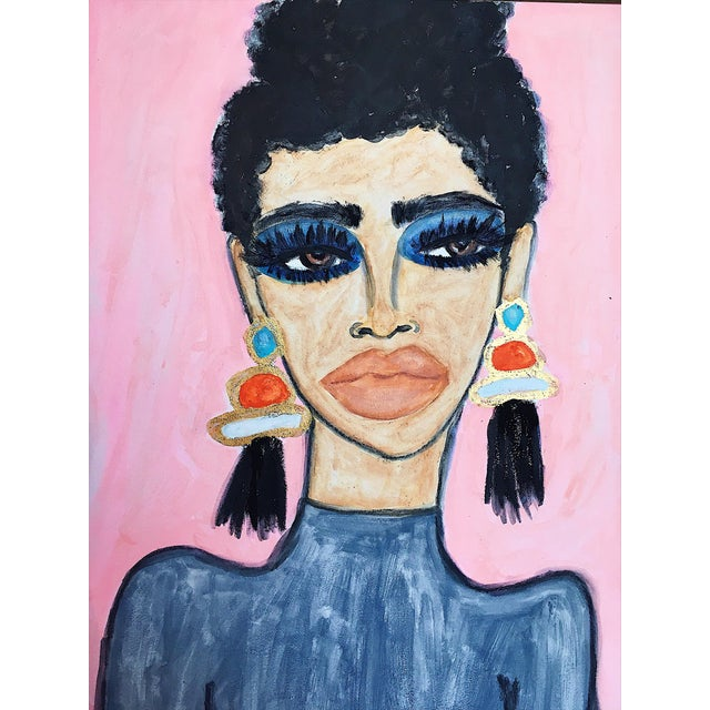 "2010s Figurative Original Acrylic Painting on Canvas, ""Lashes and Earrings"" by Kendra Dandy - Image 2 of 3"