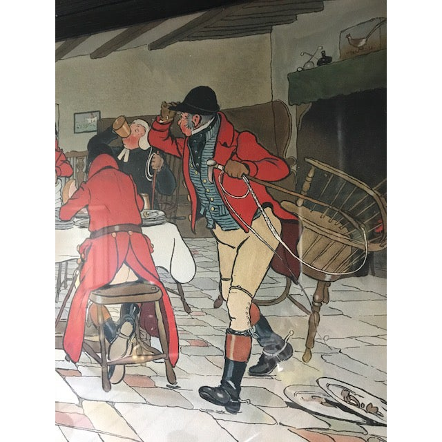 Early 20th Century Cecil Aldin Hunt Print in Wood Frame For Sale - Image 5 of 8