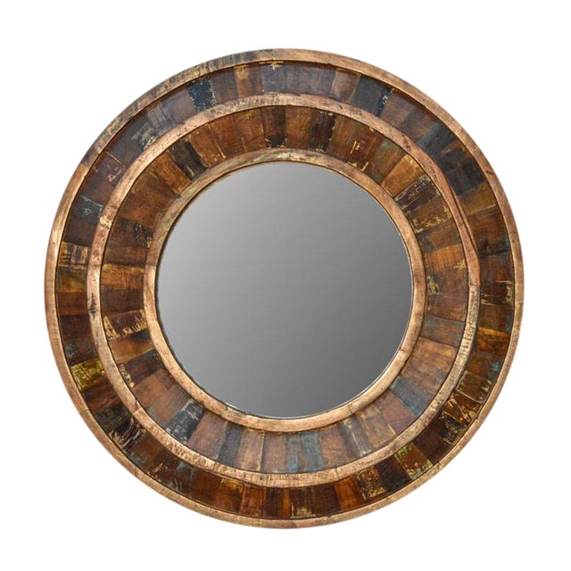 Rustic Reclaimed Round Wooden Mirror For Sale