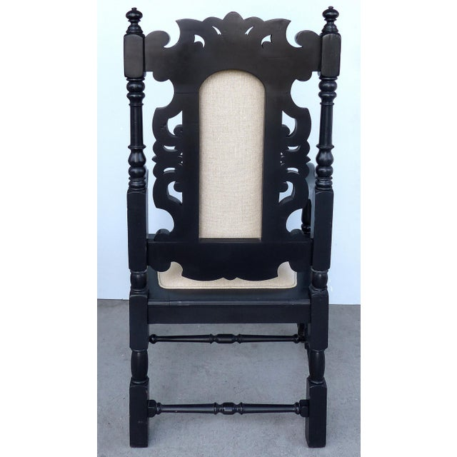 Ebonized Carved Wood Armchair W/ Linen Upholstery For Sale In Miami - Image 6 of 10