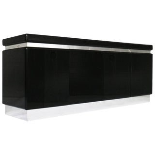 1970's Black and Chrome Credenza For Sale