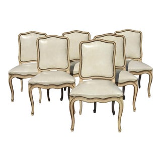 Six Vintage French Provincial Off White Leather Dining Room Chairs by Thomasville For Sale