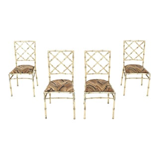 Set of Four Solid Cast Aluminium Faux Bamboo Dining Chairs For Sale
