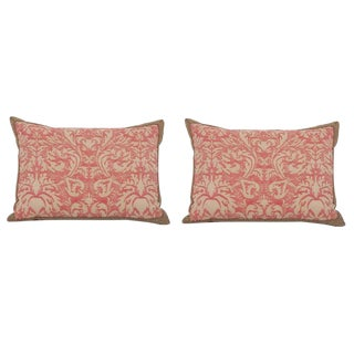 Pair of Fortuny Fabric Pillows With Greek Key Trim For Sale