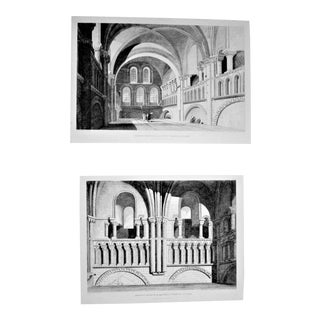 Abbey Church of the Holy Trinity at Caen: The East Side and the Nave Etchings - A Pair For Sale