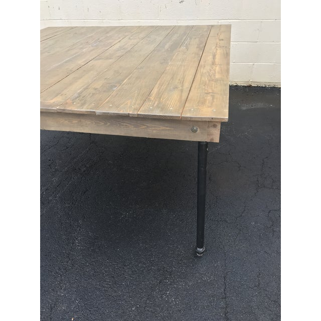 Rustic Dove Gray Wood Square Farm Table For Sale - Image 10 of 11