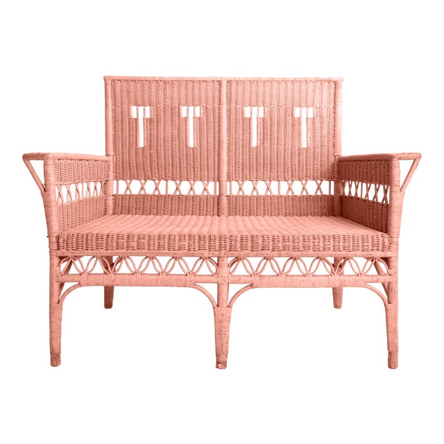 1950s Boho Chic Pink Rattan Settee or Love Seat For Sale