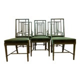 Image of Late 20th Century Drexel Campaign Dining Chairs- Set of 6 For Sale