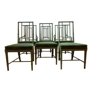 Late 20th Century Drexel Campaign Dining Chairs- Set of 6 For Sale