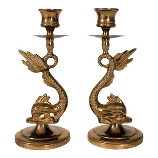 Vintage Brass Dolphin Candle Holders - a Pair For Sale