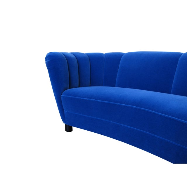 Blue Danish Deco Blue Mohair Settee For Sale - Image 8 of 10