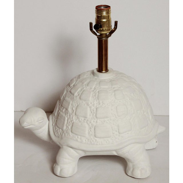 Modern White Plaster Turtle Table Lamp For Sale - Image 4 of 11