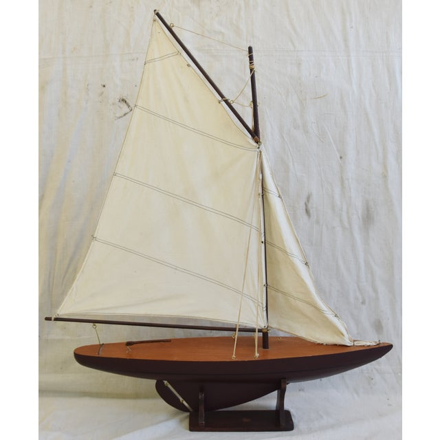 Vintage Nautical Sailing Ship/Boat Model W/Stand For Sale - Image 12 of 13