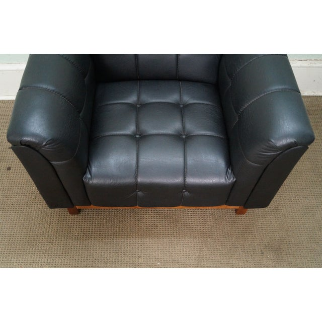 Mid Century Modern Black Faux Leather Tufted Club Chair For Sale In Philadelphia - Image 6 of 10