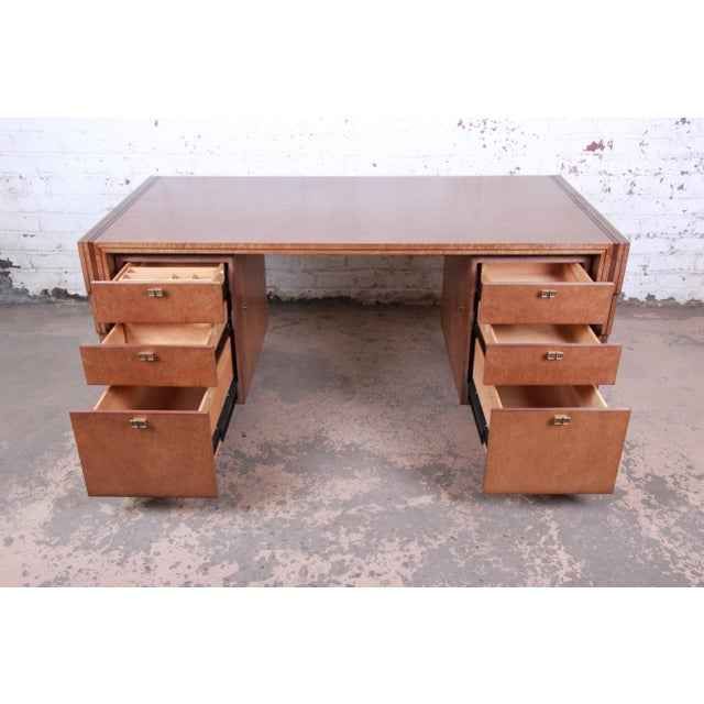 Pierre Paulin for Baker Furniture Bird's-Eye Maple and Walnut Inlay Art Deco Executive Desk For Sale In South Bend - Image 6 of 13