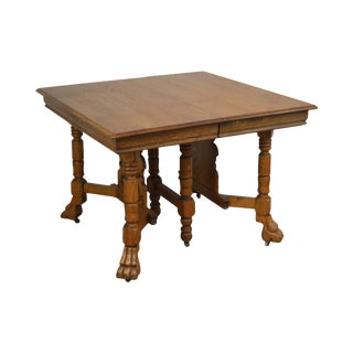 Victorian Antique Golden Oak Square Dining Table With 3 Leaves & North Wind Face For Sale