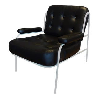 Modern Campbell Leather Lounge Chair by Woolsey Studios For Sale