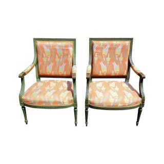 20th Century Louis XVI Style Arm Chairs - a Pair For Sale