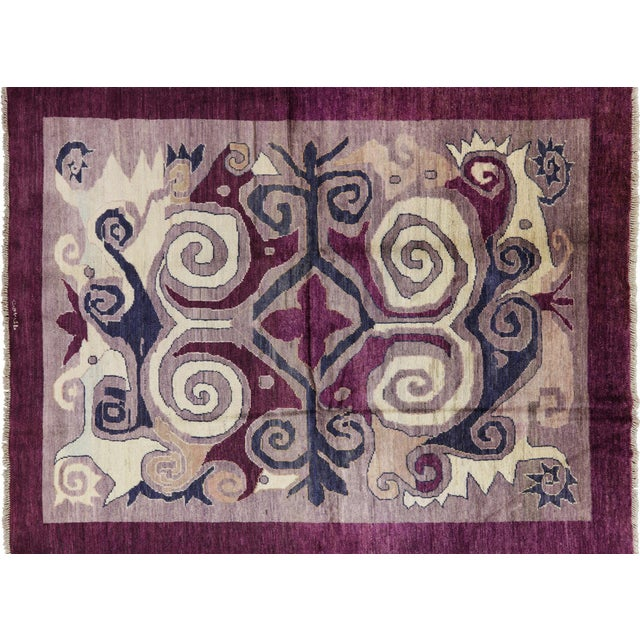 "Modern Signed Kaitag Hand Knotted Rug - 7' 8"" X 9' 10"" - Image 1 of 8"
